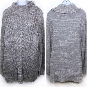 Karen Scott Cowl Neck Cable Knit Sweater 3X NWT